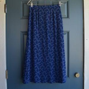 Blue Floral Print Maxi Skirt by L.L.Bean Sz. 6